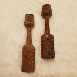 Boho Vintage Hand Carved Wooden Candle Holder Set